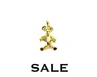 Small Vintage Gold Plated Teddy Bear Charms (8X) (V427) SALE - 25% off