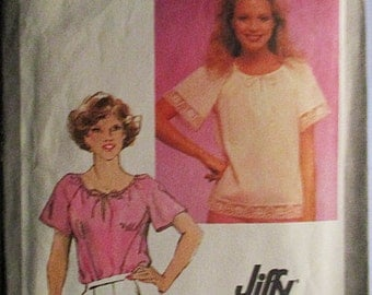 1980s Vintage Sewing Pattern Simplicity 9548 Misses Jiffy Pullover Top Pattern Size 14