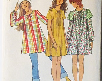 1970s Sewing Pattern Simplicity 5064 Misses Mini-Tent Dress & Tunic Pattern Size 8 Bust 31 1/2 Uncut