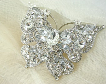 Extra large rhinestone butterfly brooch, silver crystal butterfly pin, bridal brooch, wedding pin, supplies wedding bouquet and hair pieces