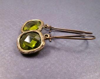 Drop Earrings, Olive Green Resin Bezels, Brass Dangle Earrings, FREE Shipping U.S.