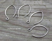 Pure Titanium Silver Almond Earwires (2pr) Hypo Allergenic, Hand Forged Hammered, Earring Components