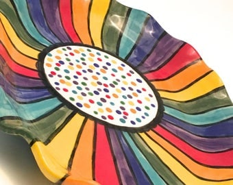 Stoneware Ceramic Serving Dish or Vanity Perfume Tray Rainbow Striped Dotted on White Custom Made to Order Perfect Anniversary Gift PL0005