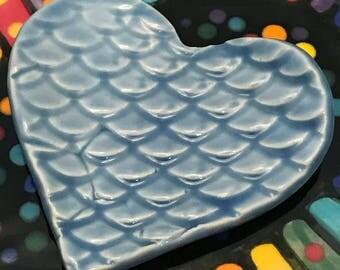 Ceramic Stoneware Trinket Ring Dish Heart Sky Blue Fish Scales Ready to Ship TNK00031