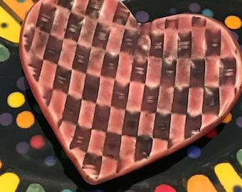Ceramic Stoneware Trinket Ring Dish Heart Weeping Plum Celadon Weave Pattern Ready to Ship TNK00033