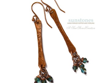 Rustic Copper Stick Earrings with Crystal Dangles E959