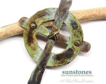 Celtic Cross - Handmade Rustic Copper Pendant Component PN336