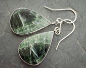 Custom Listing: Seraphinite Sterling Silver Necklaces. Serafina Teardrop Jewelry. Cabochon Jewelry. Seraphinite Gemstone Jewelry
