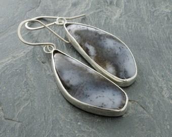 Dendritic Agate Sterling Silver Earrings. Snowfall Earrings. Agate Teardrop Jewelry. Cabochon Jewelry. Dendritic Agate Gemstone