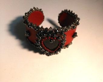 Beadwoven Cuff/Bracelet . Valentine's day . Inspirational Hematite bracelet . Beaded Heart . Hematite Metallic Gray . Red Leather Open Cuff
