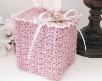 Pink Tissue Box Lace Holder Cover, Cottage Chic Square Tissue Box Cover, Nursery Room Decor, Victorian, Vintage Inspired Home Decor