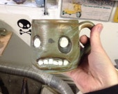 RESERVED-- hand thrown, ceramic,  Zombie mug