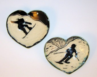 Handcarved Ceramic Heart Bowl Ring Holder with Snowboarder