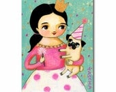 Happy New Year Pug Dog CELEBRATION Painting ORIGINAL acrylic painting pug party by TASCHA