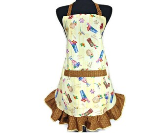 Tiki Bar Kitchen Apron, Retro Style Ruffle, Adjustable with pocket, tropical drinks,