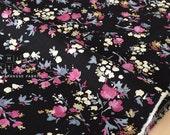 Japanese Fabric Dainty Floral - black, pink, grey, cream - 50cm