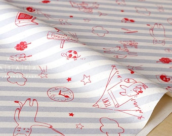 Japanese Fabric Lecien forest school - grey, red - fat quarter