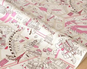 Japanese Fabric Yuwa Tokyo - pink, cream - 50cm