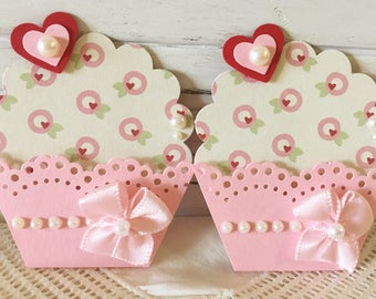 Sweet Pink Paper Cupcake Embellishments set of 2