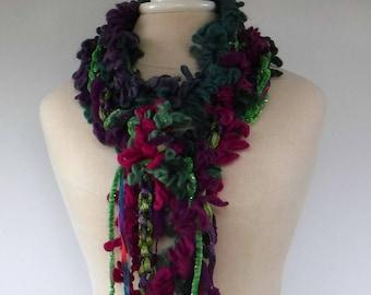 Crochet scarf, Gypsy Fringe Scarf, braids scarf, fashion woman scarf, green purple grunge scarf, skinny scarf, fringie women scarf, handmade