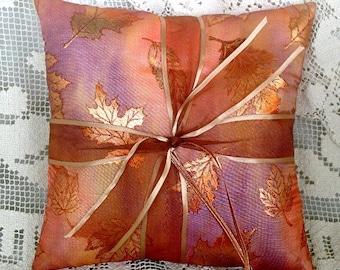 Glittering Fall Leaves Wedding Ring Pillow•Copper•Orange• Wedding Ring Cushion•Autumn Wedding•