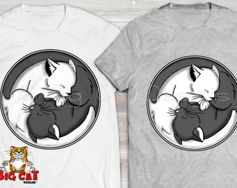 YIN YANG Cat T-shirt  Peaceful Kitty Shirt with sleeping black and white kittens.  Great for Yoga and Meditation Gift.