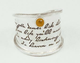 Dance Like No One's Watching Message Poem Ring by donnaodesigns