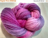 February Sale PINKED PURPLES Handpainted Wool Yarn 210yds 3.5oz Worsted Weight  Aspenmoonarts Hand Painted handdyed