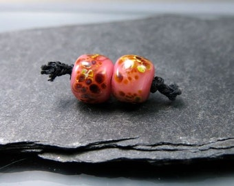 Handmade Lampwork Earring Pair Beads by GlassBeadArt  …   Dark pink with raku earring beads ... 9x8mm … SRA F12