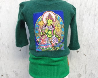 1-2 T mo Buddha Heart  Cashmere sweater Green