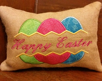 Happy Easter eggs embroidered burlap pillow - 12x8