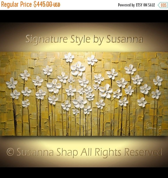 ORIGINAL Gray and Yellow Abstract Landscape Acrylic Painting, Wall Art Decor, Modern Palette Knife White Flowers Artwork by Susanna Shap