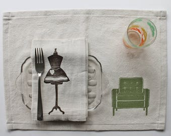 Hostess Gift-Midcentury Chairs Block Printed Placemat Set-100% cotton-Handmade Placemats