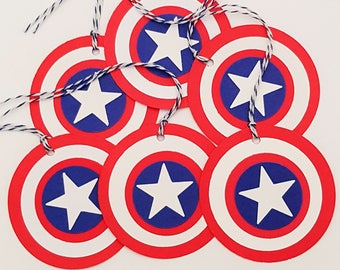 Super Hero Tags, Avenger Tags, Avenger Favor Tags, Loot Bag Tags, Avenger Gift Tags, Birthday Tags READY TO SHIP