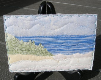 Vacation Memories,Fabric Art, Beach Quilted Postcard,Landscape Postcard,Fiber Art,Fabric Postcard, Landscape Art, Spring and Summer Vacation