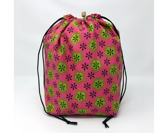 MOVING SALE - Pink Green Flowers Drawstring Knitting Project Bag