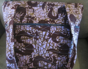 Vintage African Batik Stylized Roosters Quilted bag  25