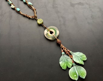 Handmade glass ginkgo talisman by Lori Lochner Tribal, gypsy, boho layering necklace