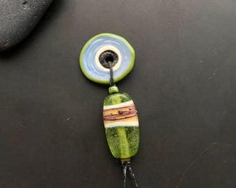 Handmade lampwork glass bead pendant set by Lori Lochner rustic tribal designer jewelry making artisan supply