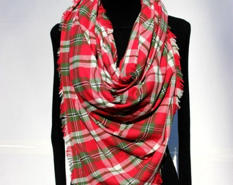 Christmas Over Sized Plaid Blanket Scarf - Soft Blanket Scarves - Trendy Scarves - Red Green and Cream - 100% Flannel