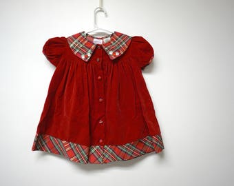 Somerset Lane . red velvet Peter Pan collar dress . little girls size 24 months
