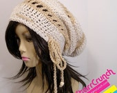 ReOpening Sale 25% Off Slouchy Dread Tam Snood Crochet Hat in Cream and Tan