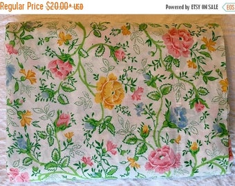 BIG SALE - Full & Twin Flat Sheet - Multi-Color Floral Full Twin Penney's Juliette - 1970s Bedding - No-Iron Bedding
