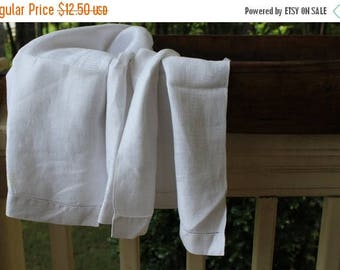 BIG SALE - Vintage White Huck Linen Damask Towel
