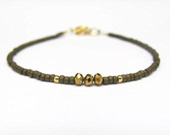 Brown Friendship Bracelet, Stacking Layering Yoga Zen Jewelry, Bronze Crystal Bracelet, Beaded Bracelet, Gift for Her Sister Friend