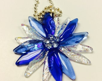 Fused Glass Dichroic Flower Pendant/ necklace (Blues)