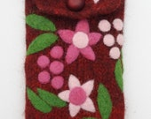 Burgundy wine red wool pouch bag purse cellphone cozy needle felted flowers