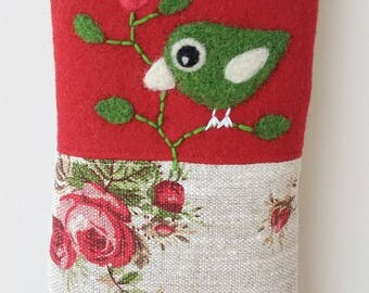 Phone cozy pouch red wool rosy linen needle felted  birdie bird roses