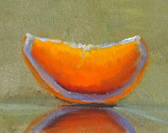 Orange Citrus Slice, Original Oil Painting, Small 4x5 Canvas, Tangerine Kitchen Art, Minimalist Wall Decor,Tropical Fruit, Little Still Life