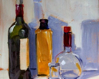Bottles Still Life, Original Oil Painting, 8x8 Canvas, Square Format, Kitchen Wall Decor, Blue Green, Gold Glass, Wine Bottle, Glass Bottles